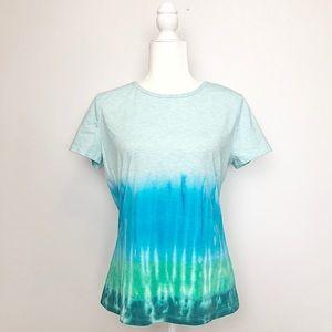 Custom Tie Dye Blue Green Stripe T-Shirt Tee Large